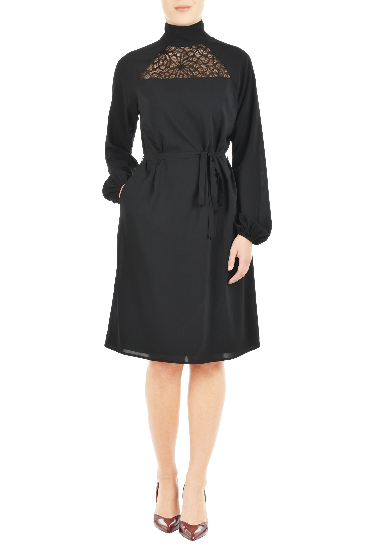 Lace Yoke Turtleneck Crepe Dress
