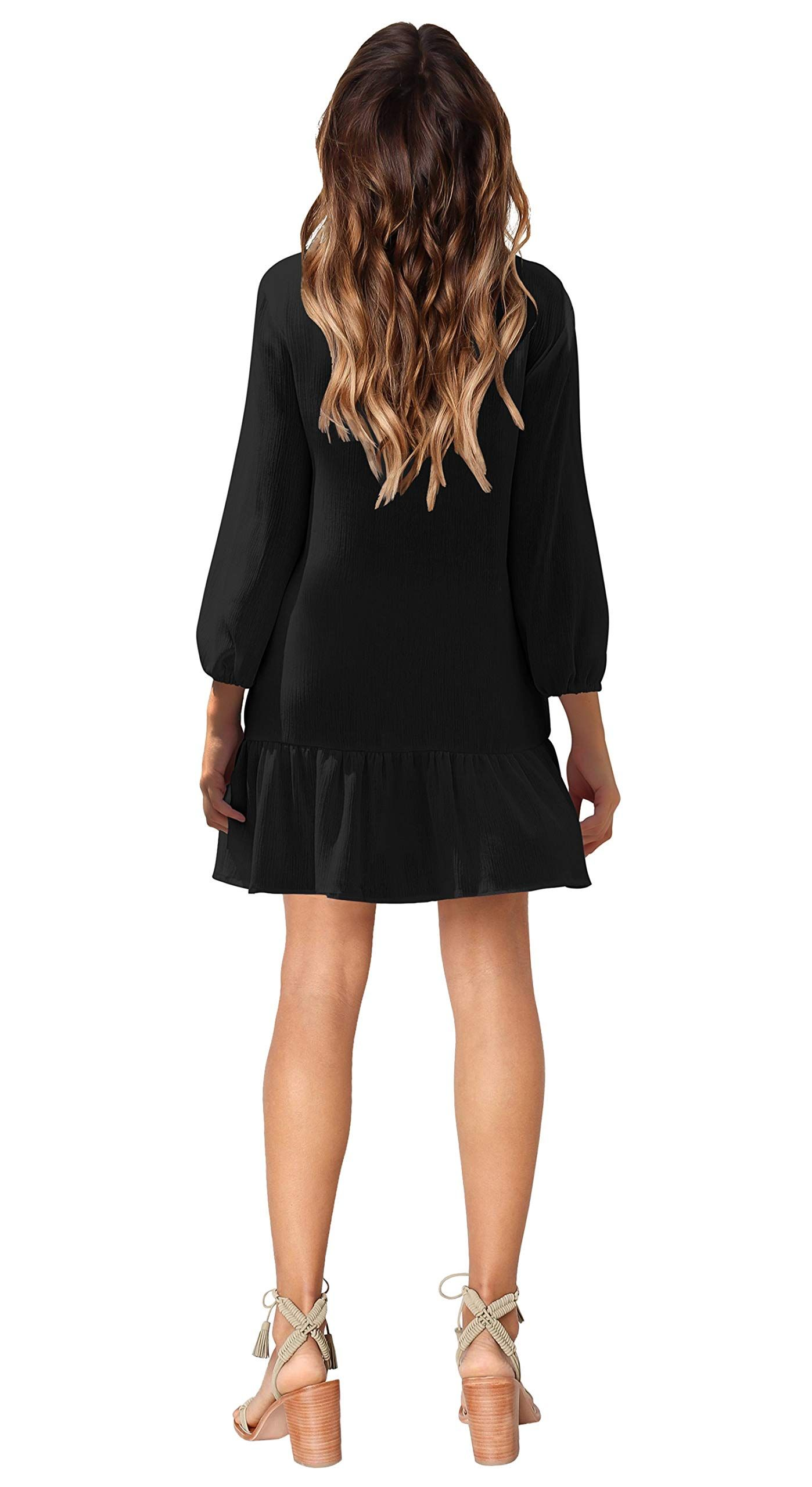 0c7edca1fc8 Zanuce Women 3/4 Sleeve V Neck Button Down Shift Dress Casual Ruffle Tunic  DressBlackSmall *** See this great product. (This is an affiliate link) #  ...