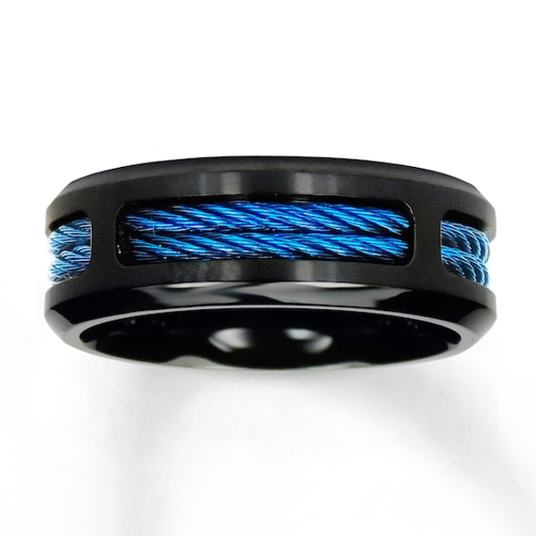 Wedding Band Stainless Steel Black Blue Ion Plating Kay Stainless Steel Wedding Bands Stainless Steel Rings Mens Wedding Rings