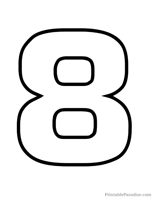 Printable Bubble Number 8 Outline | LDS Baptism | Bubble numbers