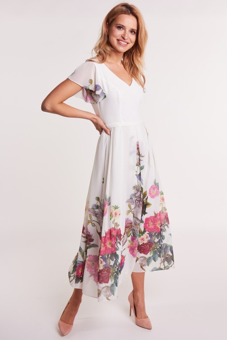Wizytowa Sukienka W Kwiaty Studio Mody Francoise Odziez Damska Balladine Com Polska Moda Online Darmowa Dost Shoulder Dress Dresses Cold Shoulder Dress