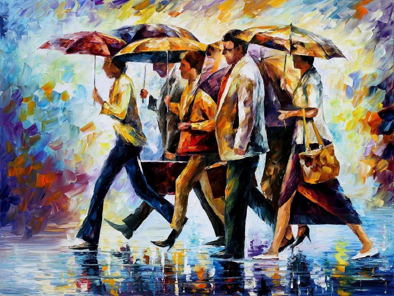 TODAY I FORGOT MY UMBRELLA PALETTE KNIFE Oil Painting Canvas