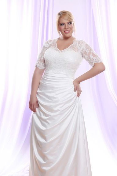 Silk Satin Plus Size Wedding Dress w/ Long Sheer Illusion Lace ...