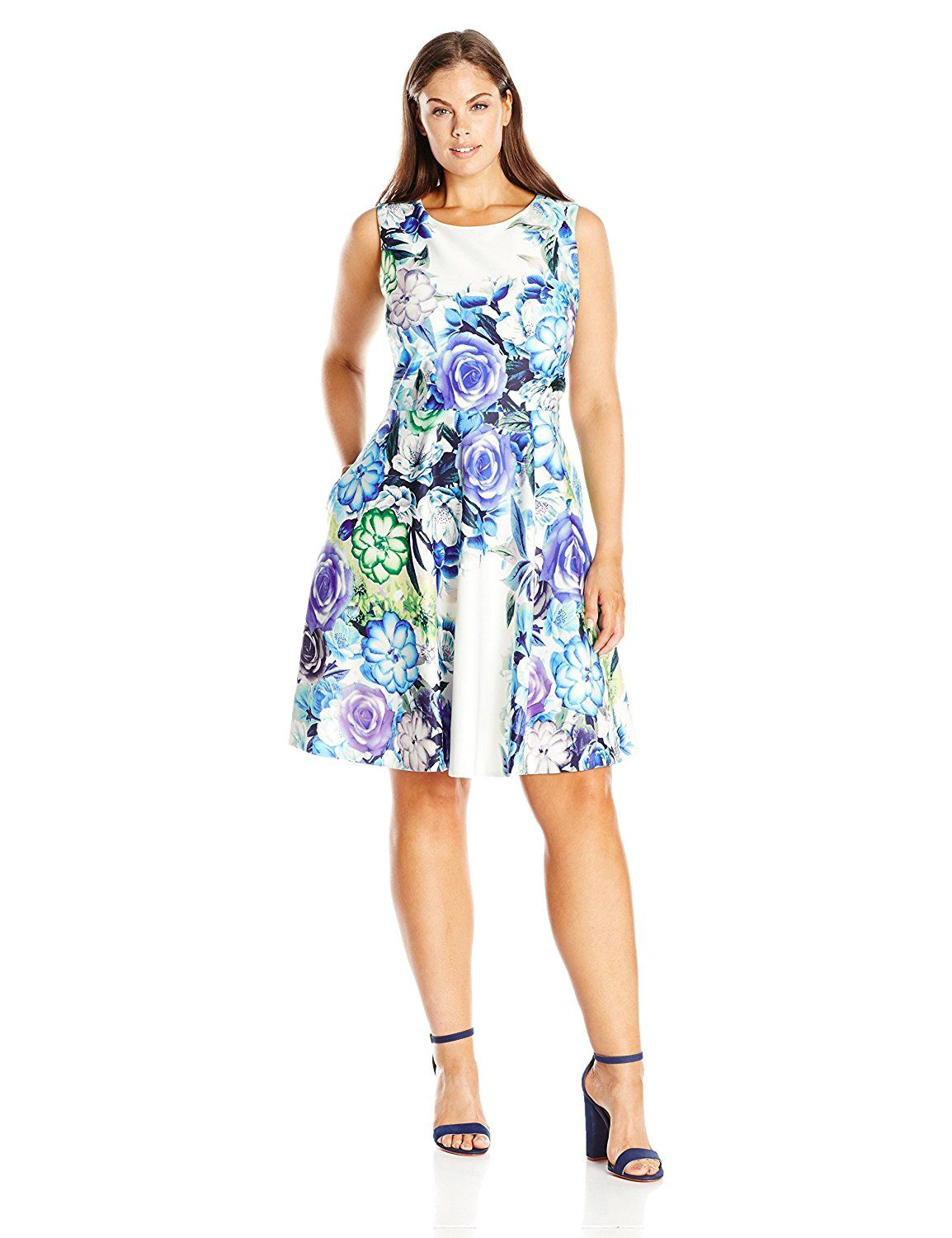 Eliza J Women s Plus Size Sleeveless Floral Fit and Flare