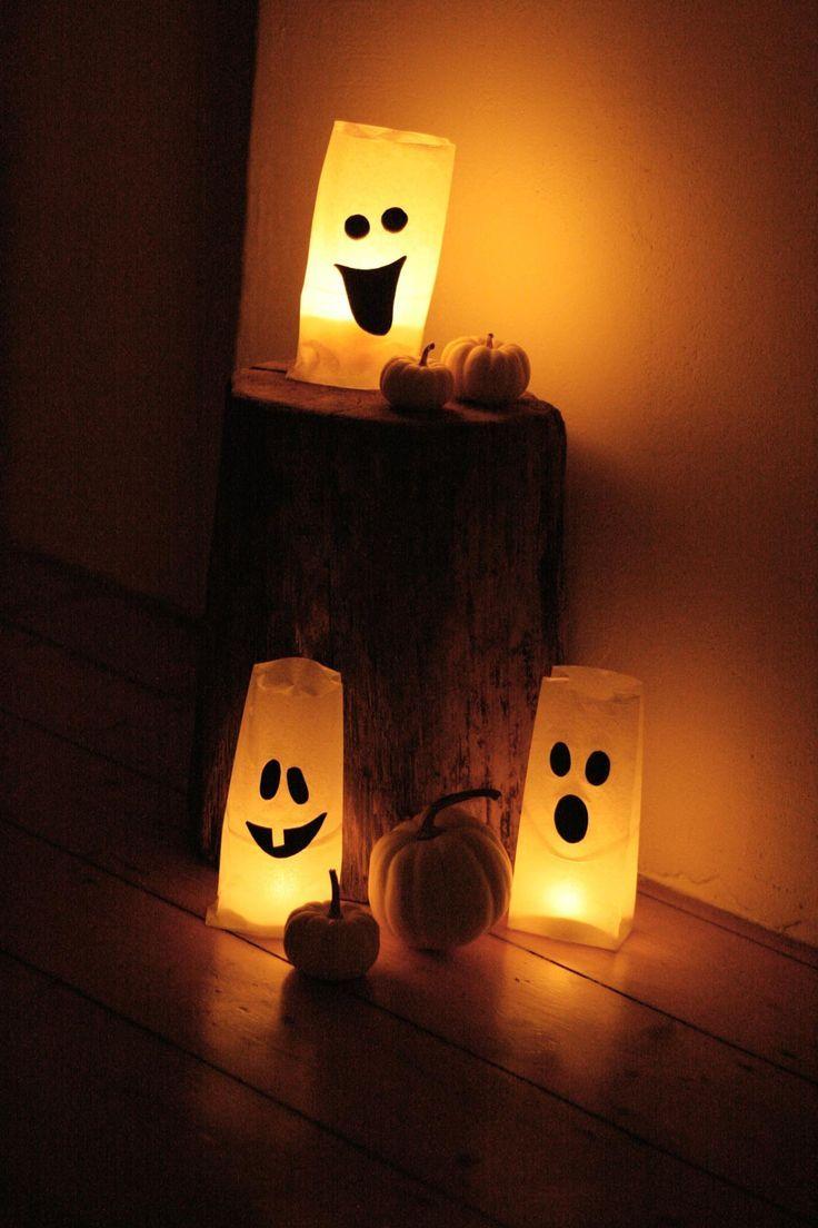 Gespenstische Windlichter zu Halloween. Tüten selber basteln