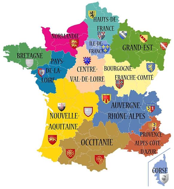 Les 13 régions de la France métropolitaine