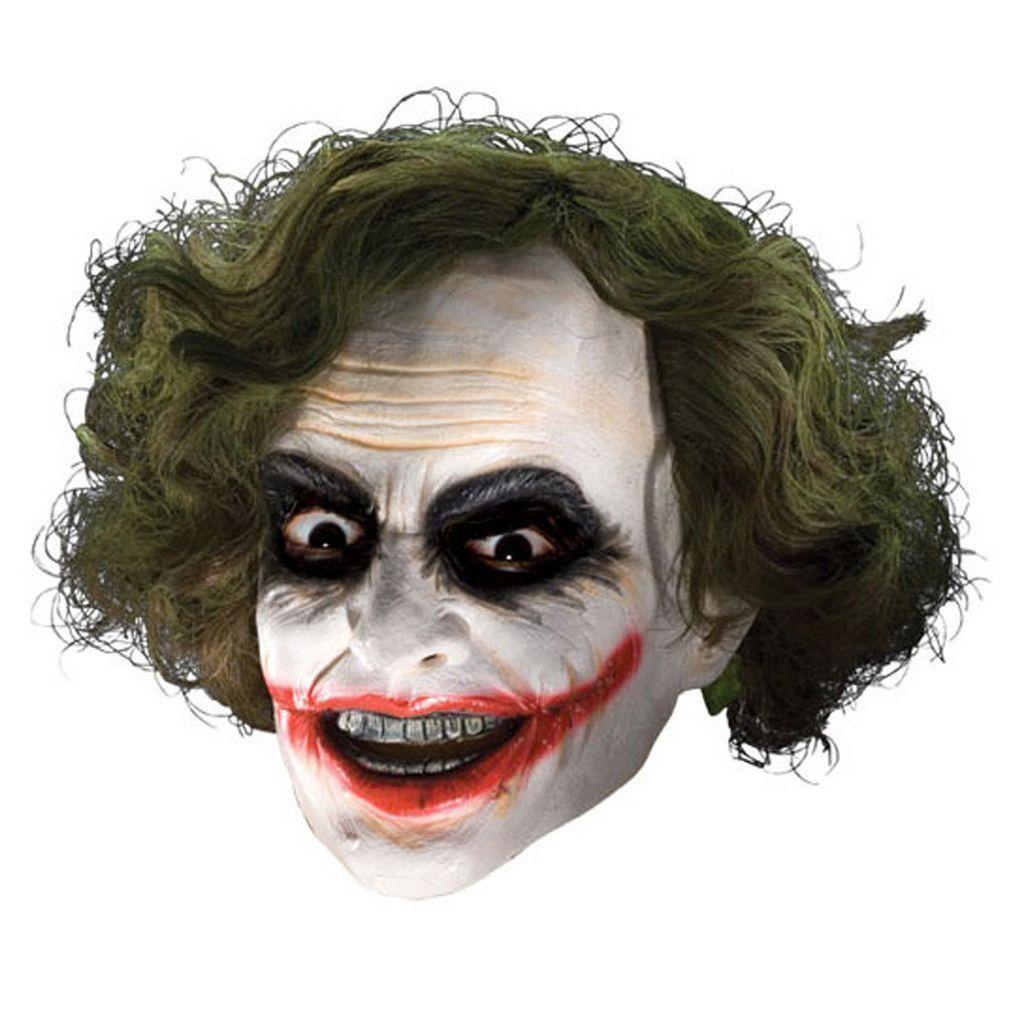Batman Dark Knight Adult Joker 3/4 Vinyl Mask with Hair | Batman ...