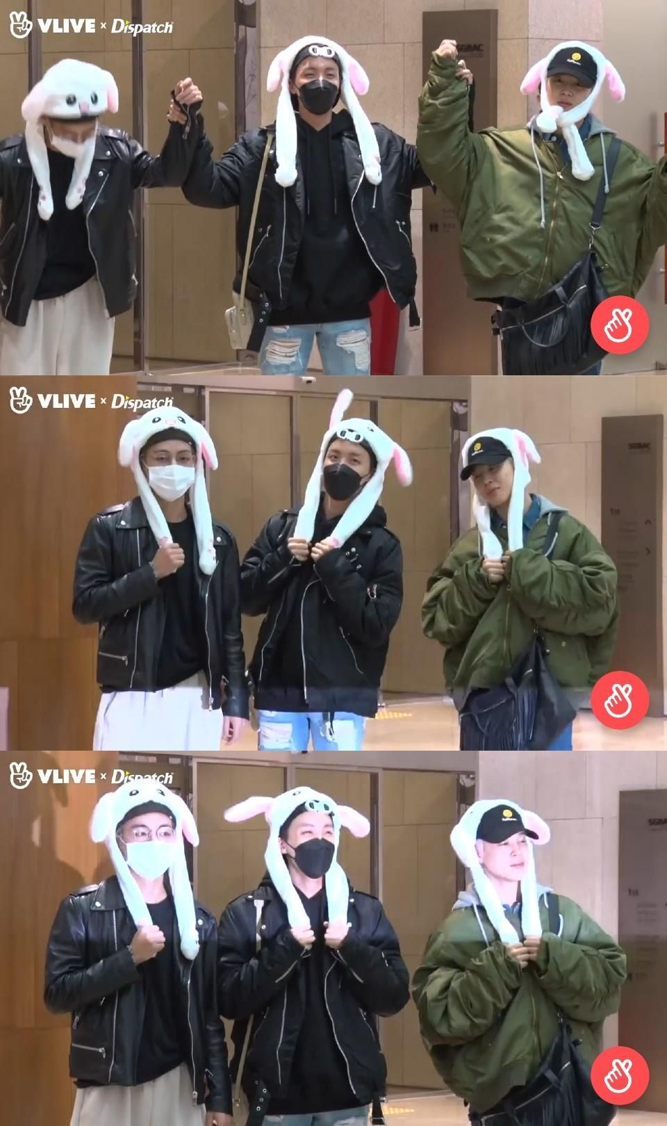 V Report Jimin, J-Hope and V looking cute with bunny ...