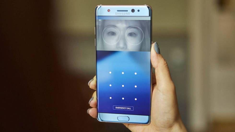 Pantalla del Galaxy Note 7 con el reconocimiento de iris.SAMSUNG / EPV Samsung estrena este martes el nuevo terminal de…