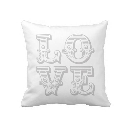 Gray Love Square Vintage Typography Pillows