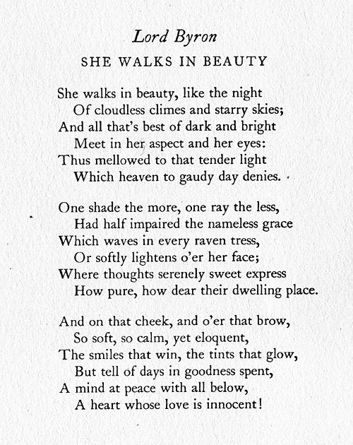 She Walks In Beauty Lord Byron