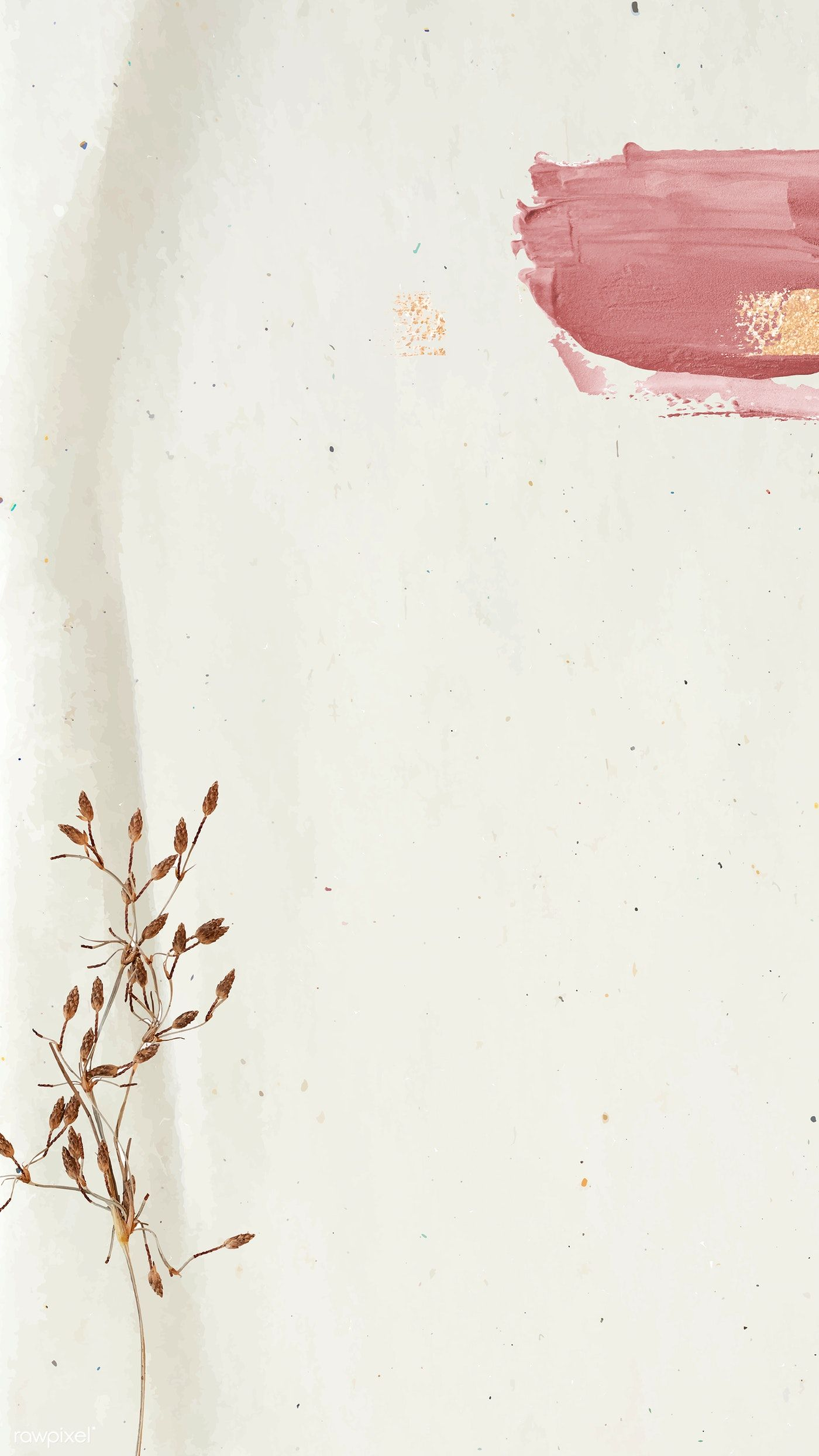 Download premium vector of Floral decorated with pink bush stroke on beige