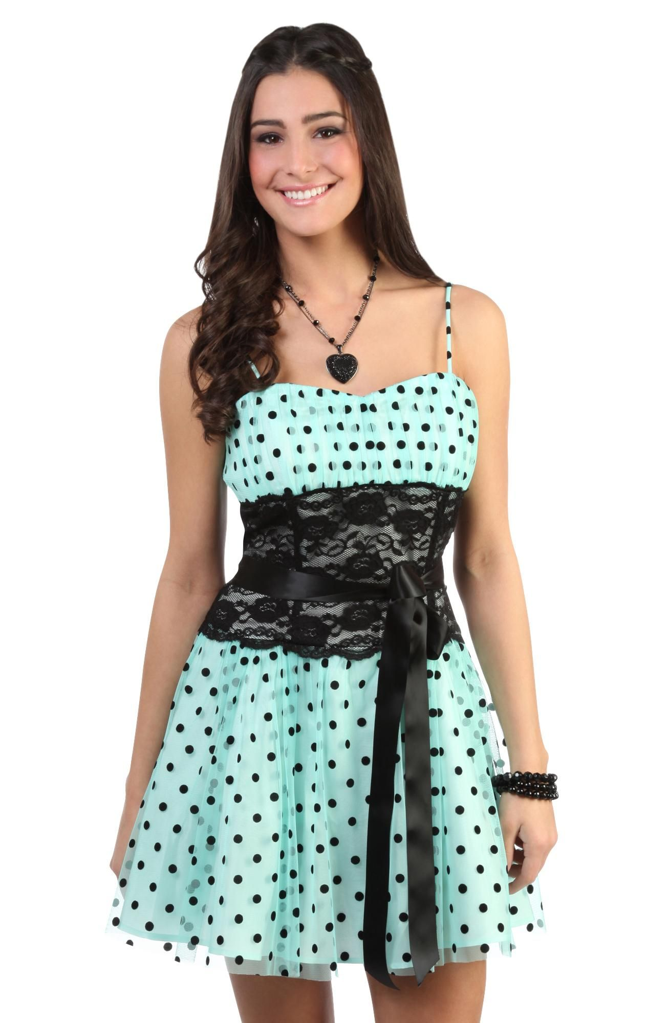 short spaghetti strap polka dot prom dress with lace satin tie waist ...
