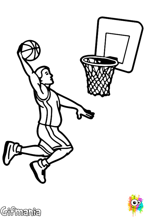 Basketball Slam Dunk Coloring Page Basketball Drawings Basketball Artwork Easy Drawings For Beginners
