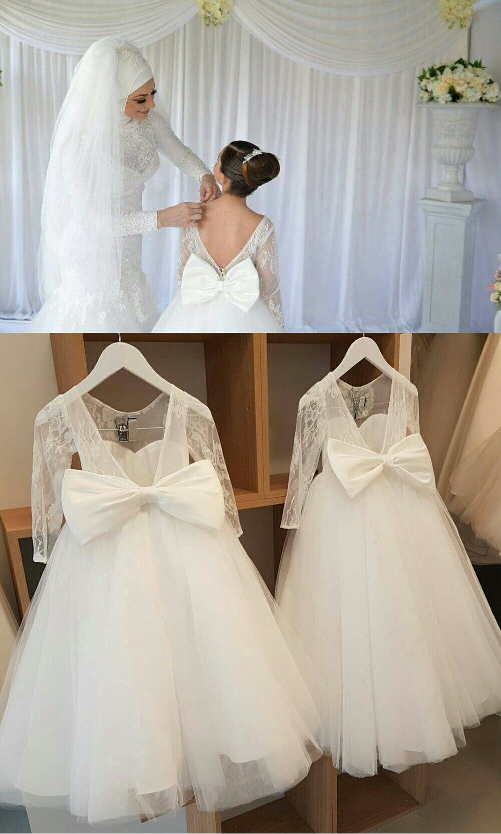 a7bed1be94 Lovely Puffy Tulle Backless Flower Girl Dresses with Long Lace Sleeves 2018