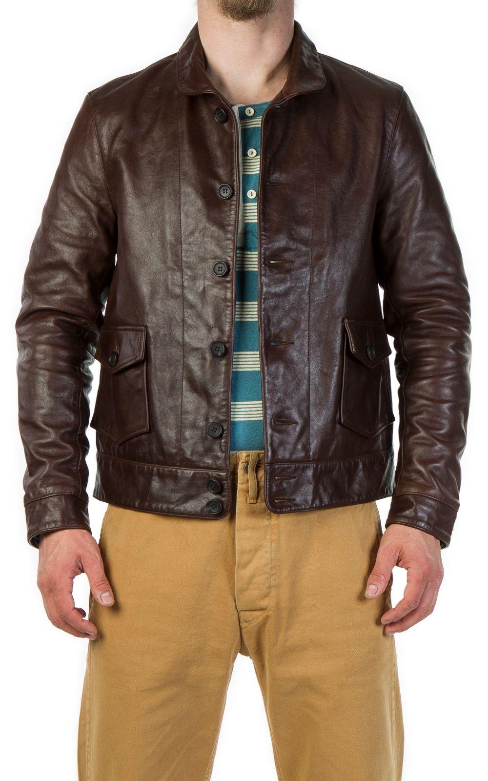 Cultizm Raw Denim Best Brands 1930s Menlo Cossack Jacket Brown Levi S Vintage Clothing 1930s Menlo Cossack Leather Jacket Jackets Levis Vintage Clothing