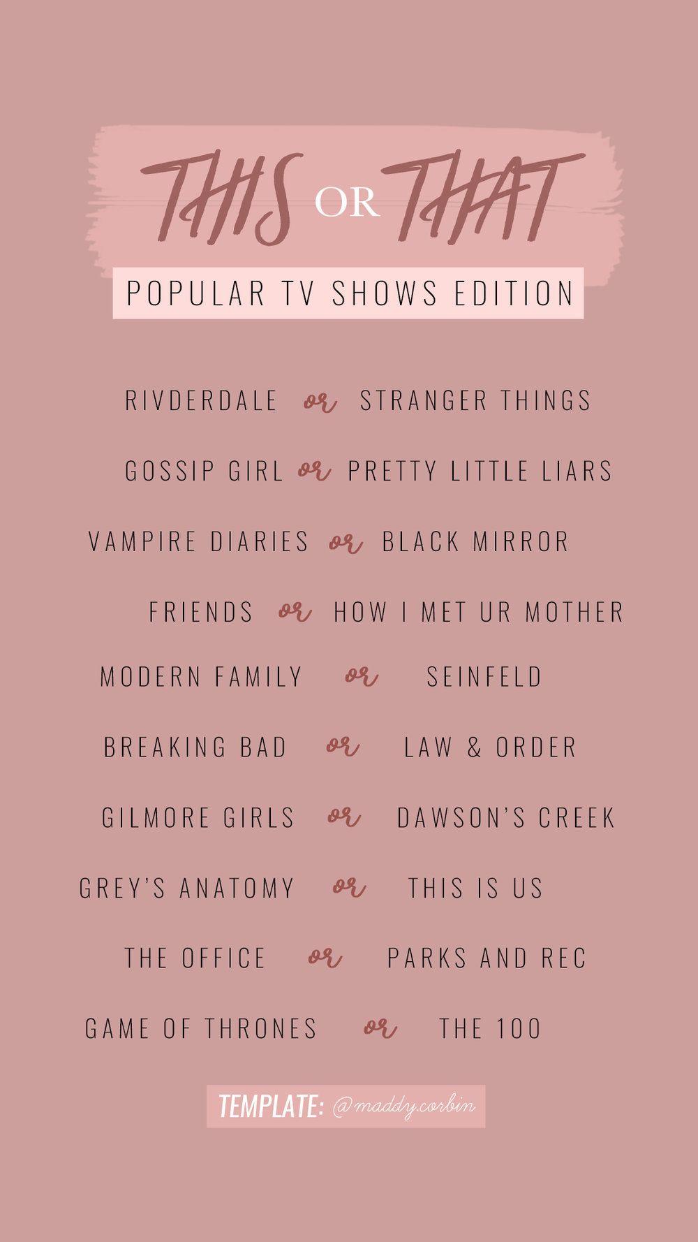 TELEVISION SHOWS — Maddy Corbin