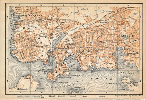 1910 Plymouth United Kingdom Great Britain Antique map