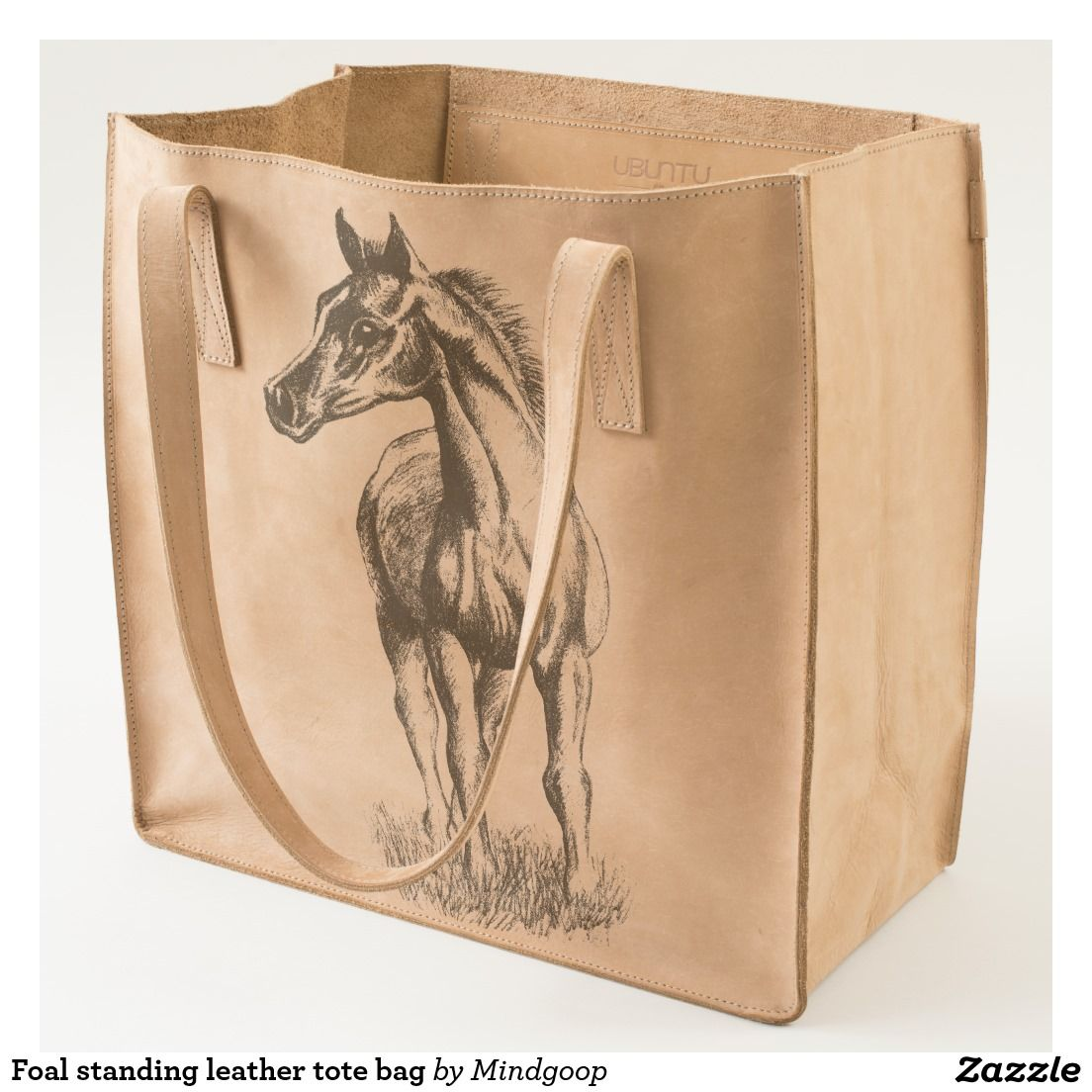 Foal standing leather tote bag