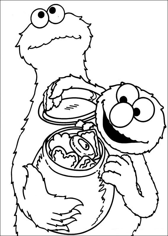 Cookie Monster and Elmo | Elmo coloring pages, Monster ...