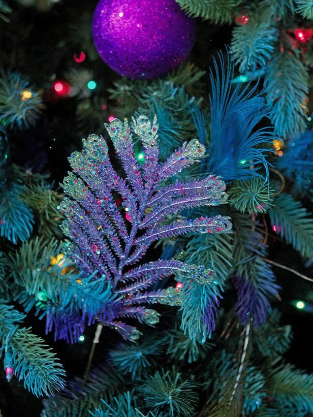 christmas tree decoration with peacock blue details - Iridescent Christmas Tree Decorations