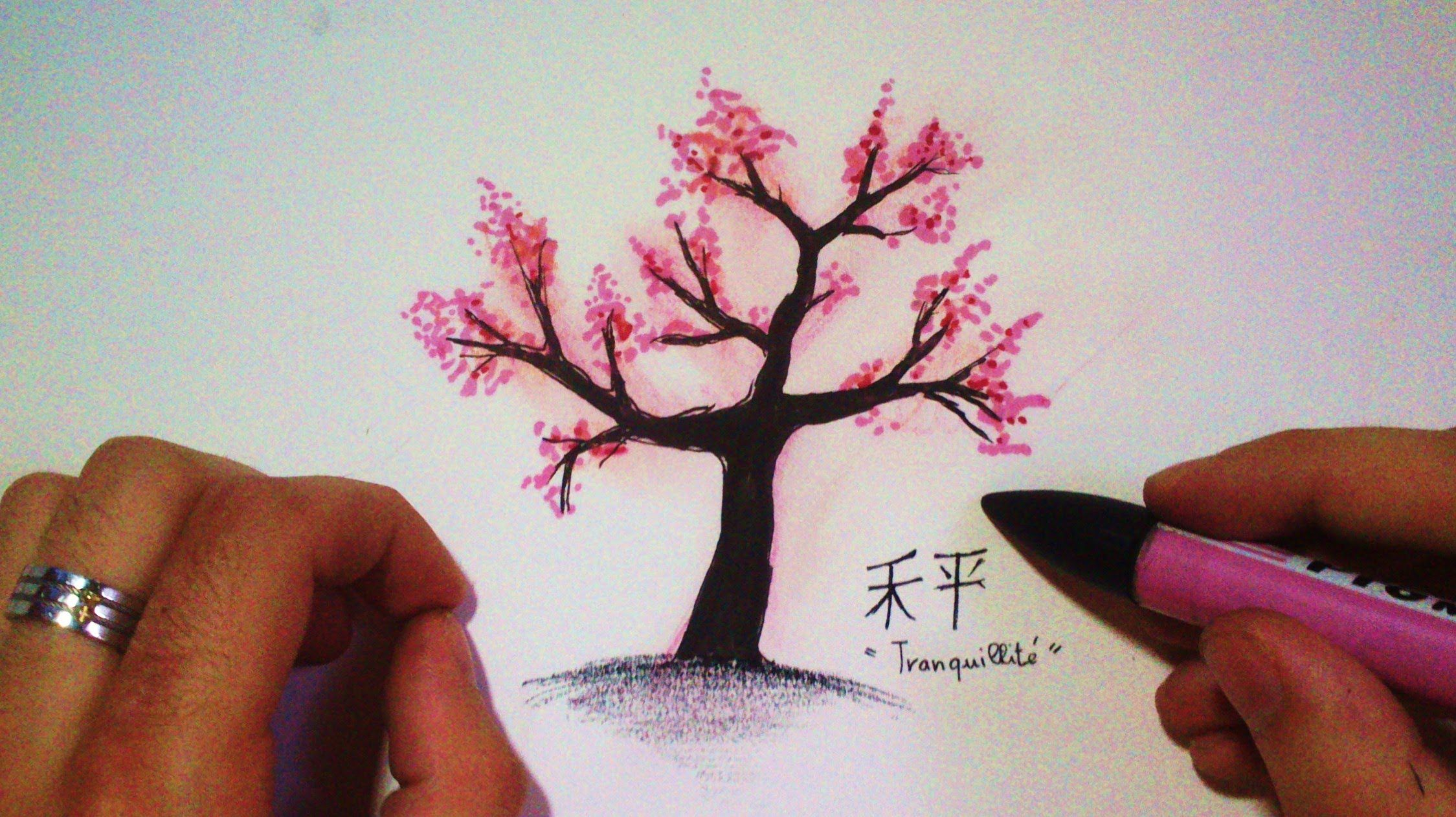 Atmospheric Music and Time Lapse by me.. 2 WAYS! easy.. Japanese Tree - Cherry tree - Cerisier Japonais. My channel drawing : http://bit.ly/tutodrawSUBSCRIBE...