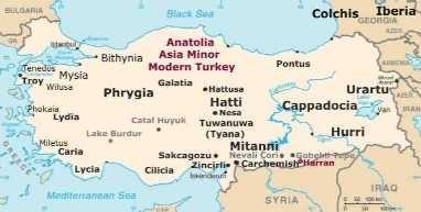Anatolia Modern Turkey superimposed map Ancient Anatolia and modern