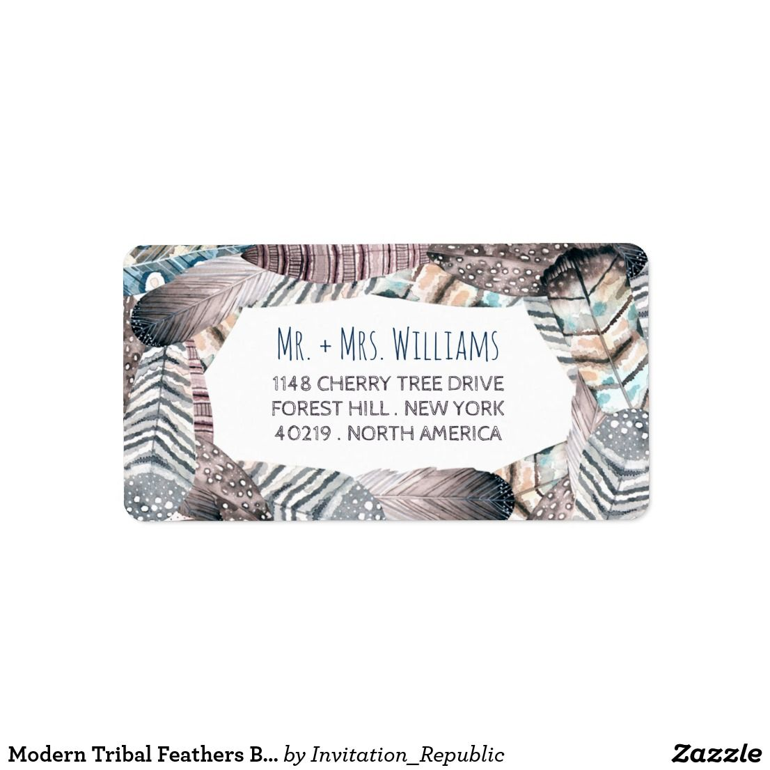 Modern Tribal Feathers Bohemian Wedding Label Wedding Bohemian