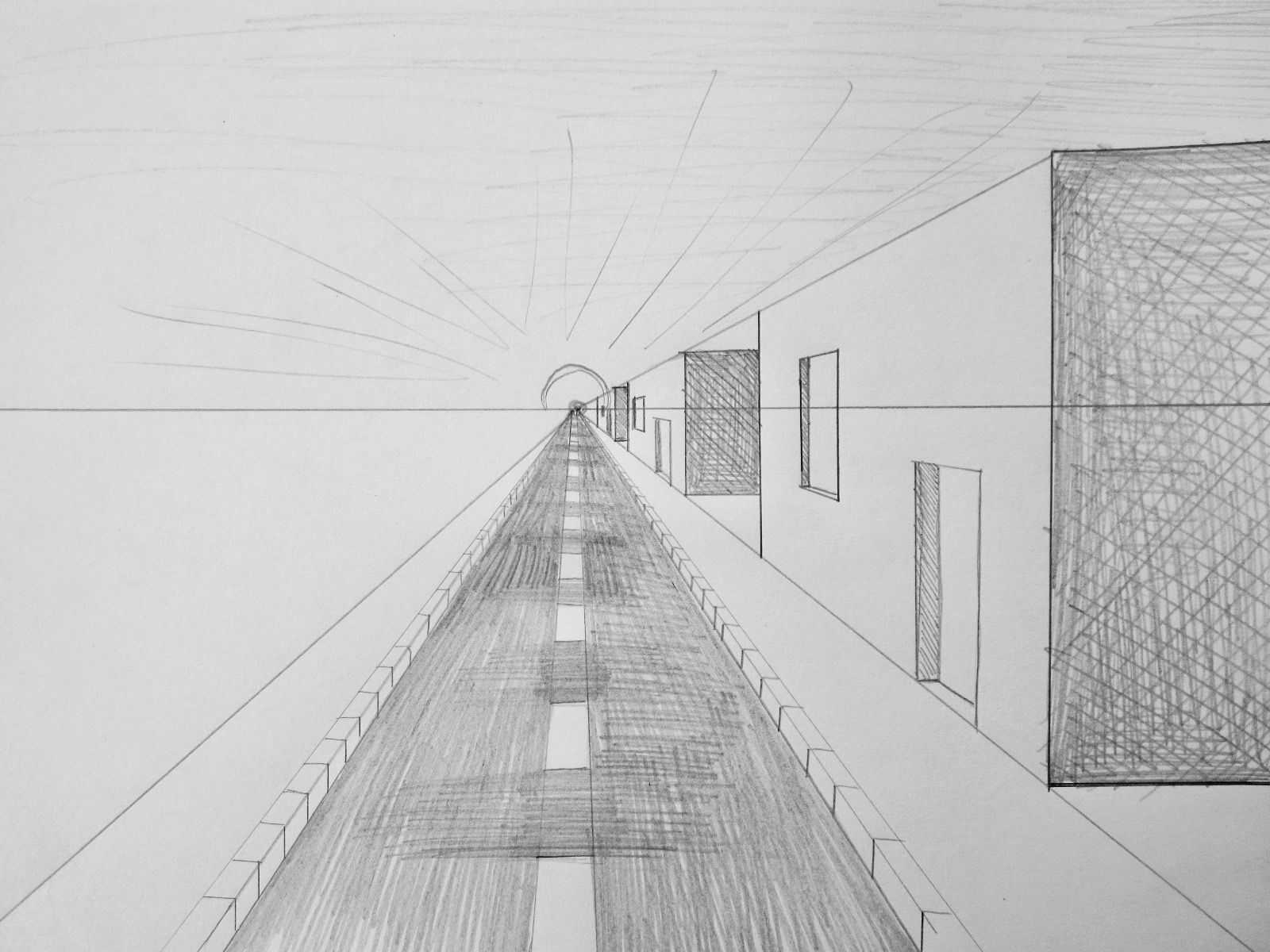 fluchtpunktperspektive mit einem punkt stra e zum horizont zeichnen lernen howto draw. Black Bedroom Furniture Sets. Home Design Ideas