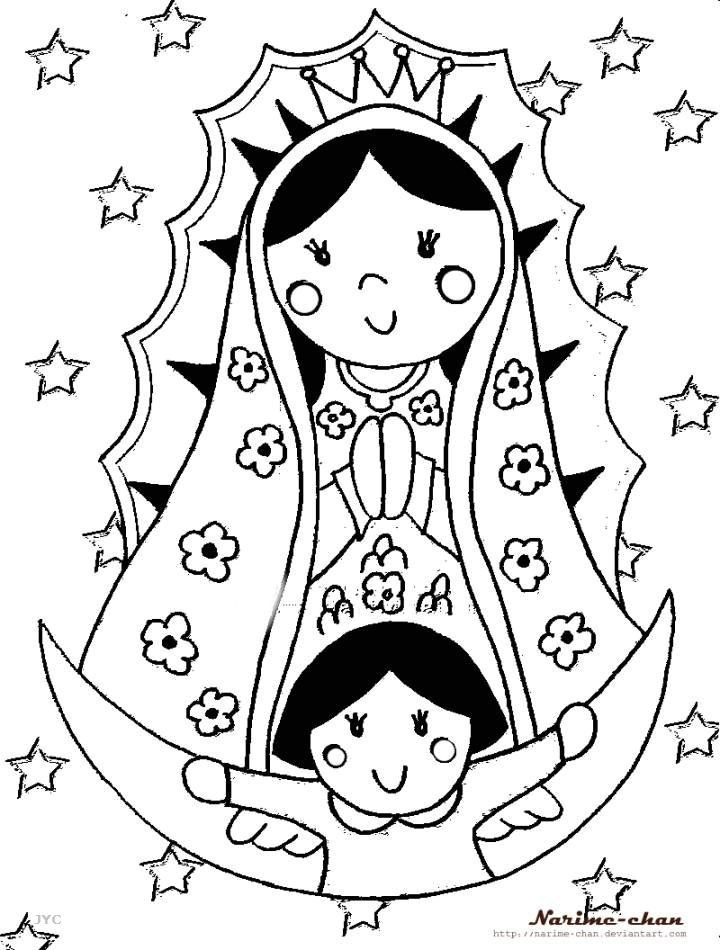 La Virgen De Guadalupe Coloring Pages Pintar Con Lápices De