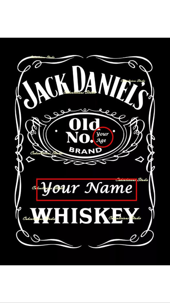 Super Personalised Edible Icing Sheet / Wafer Paper Jack Daniels Label  FD29