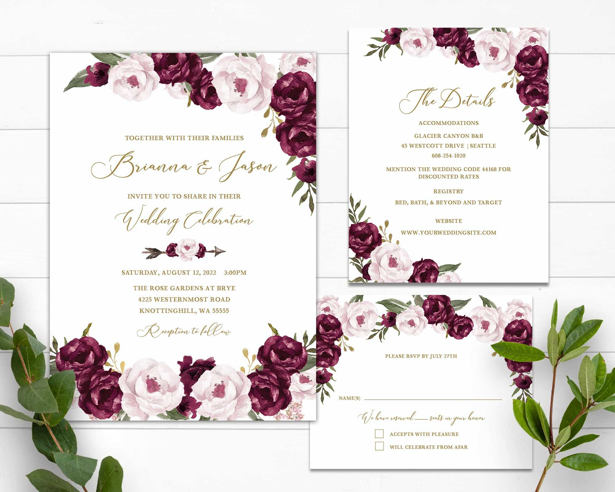 Plum Wedding Invitation Template Floral Wedding Invitation Etsy In 2020 Plum Wedding Invitations Floral Wedding Invitations Floral Wedding Invitations Printable