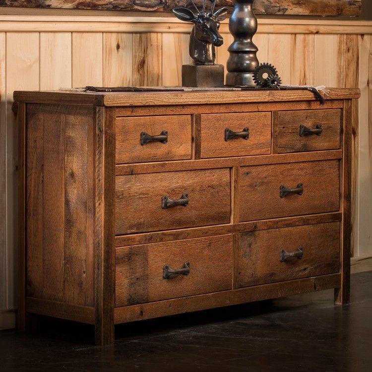 Timber Frame 7 Drawer Reclaimed Barn Wood Dresser Rustic