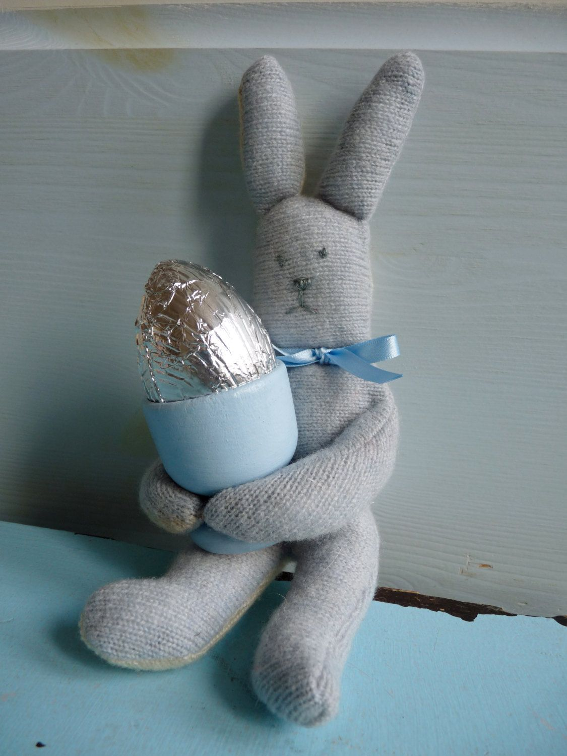 Naughty Woolly Easter Rabbit and egg cup by Kirby Jane £7 00 via
