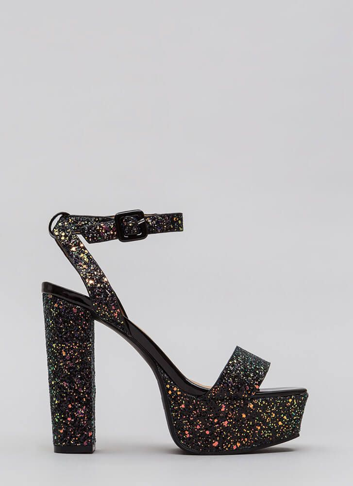 Black Sparkly, Guess Heels