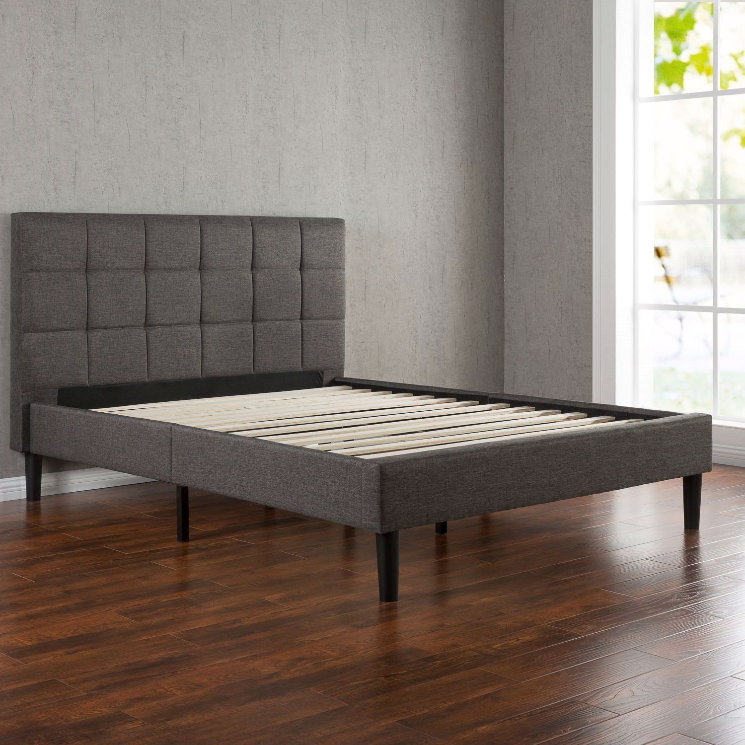 full size modern platform bed with dark grey square stitched