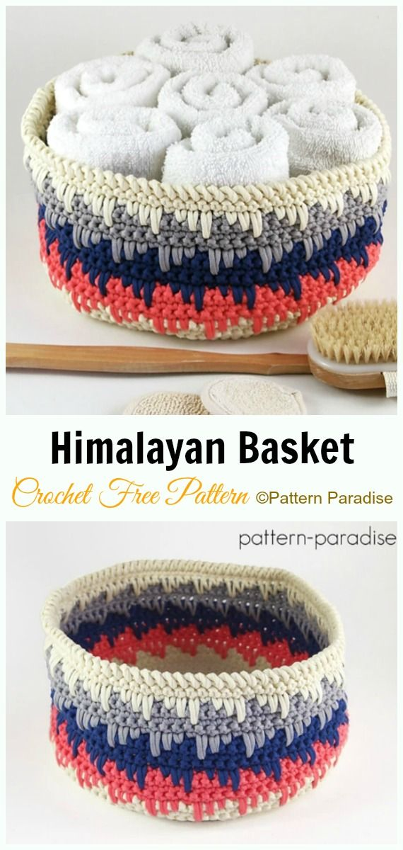 DIY Crochet Storage Basket Free Patterns Instructions #crochetbowl