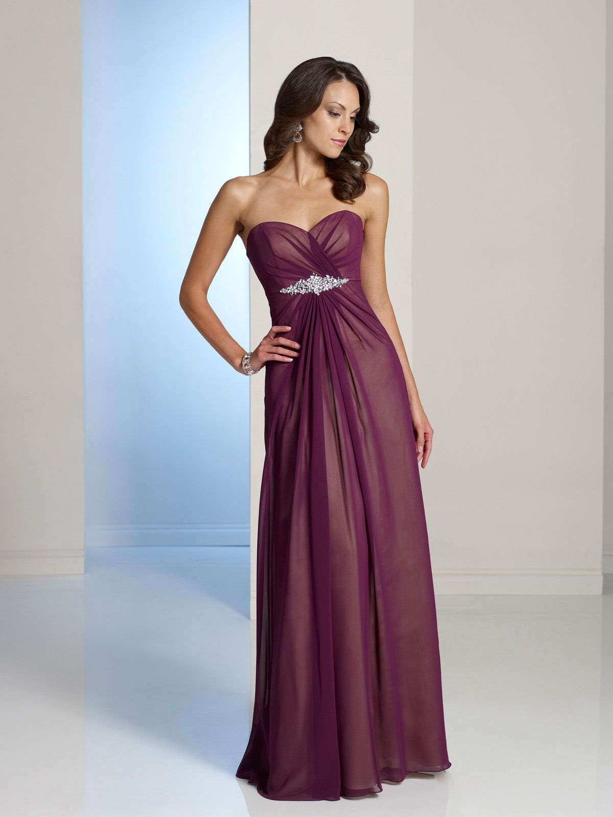 Strapless chiffon over satin aline gown with sweetheart neckline