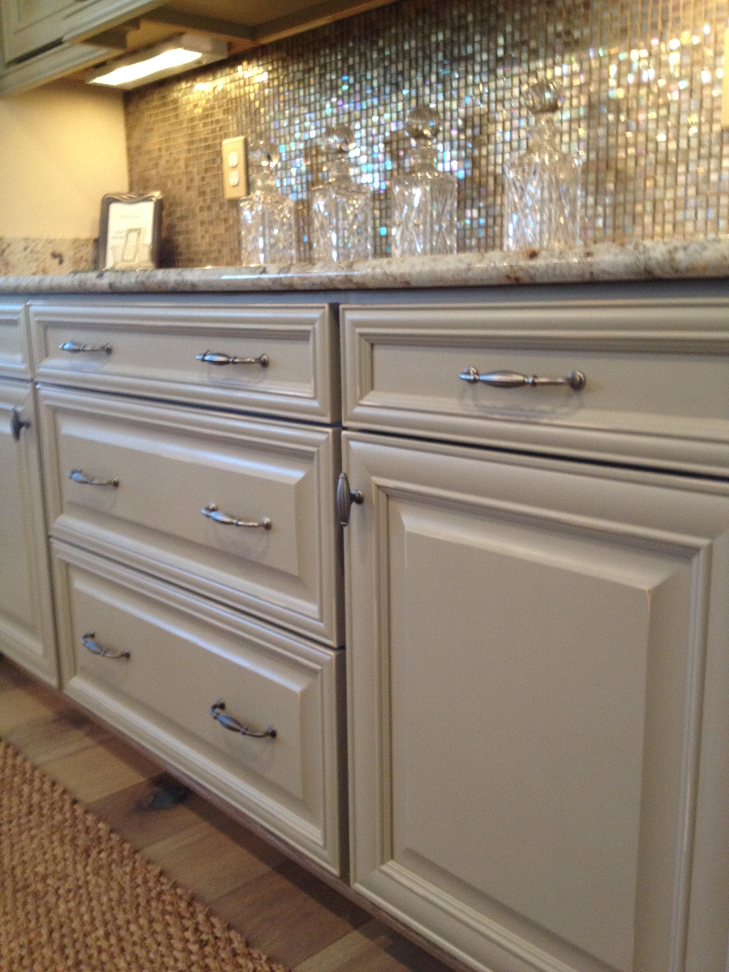 Built- In bar- Savannah Maple rubbed taupe cabinets with ...