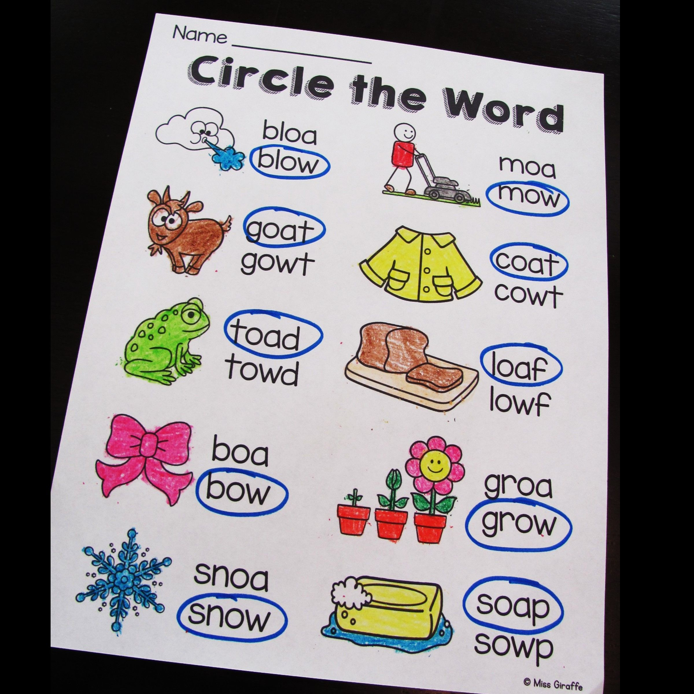 Oa And Ow Long O Word Work Activities
