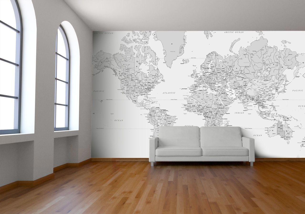 Black and white world map wallpaper from watts london made by black and white world map wallpaper from watts london made by watts london gumiabroncs Gallery