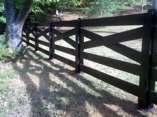 5 Board Cross Buck Black Fence Privacy Fences Fence Design Backyard Fences