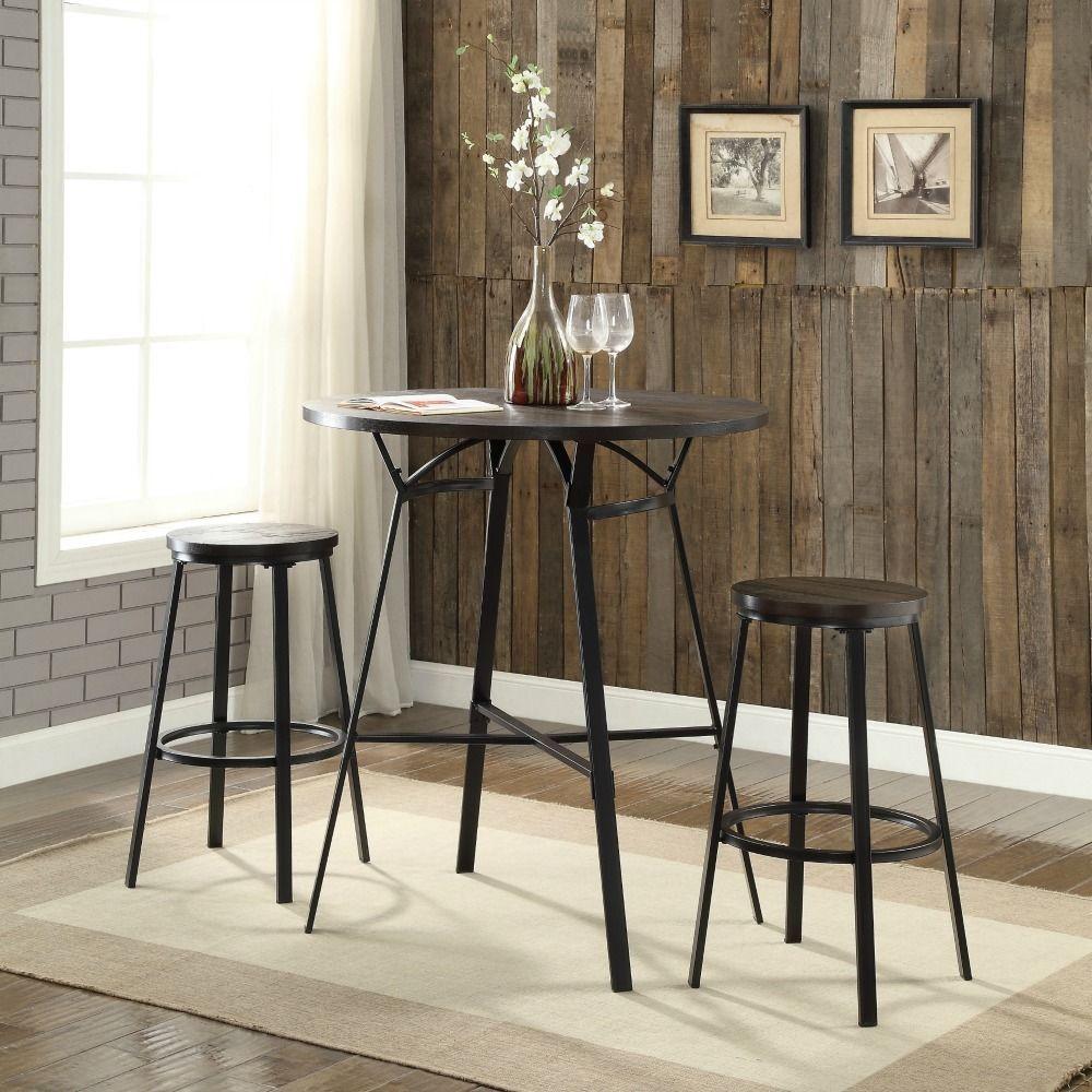 Pub Table Set Rustic Industrial Style Bar Height Table Stools Metal Wood Black #AFC # & Pub Table Set Rustic Industrial Style Bar Height Table Stools Metal ...