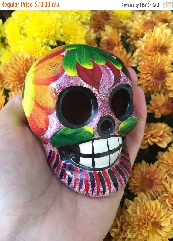 Awesome Vintage Day Of The Dead Dia De Los Muertos Painted Sugar Skull Ceramic Skull Painting Skull Day Of The Dead Skull
