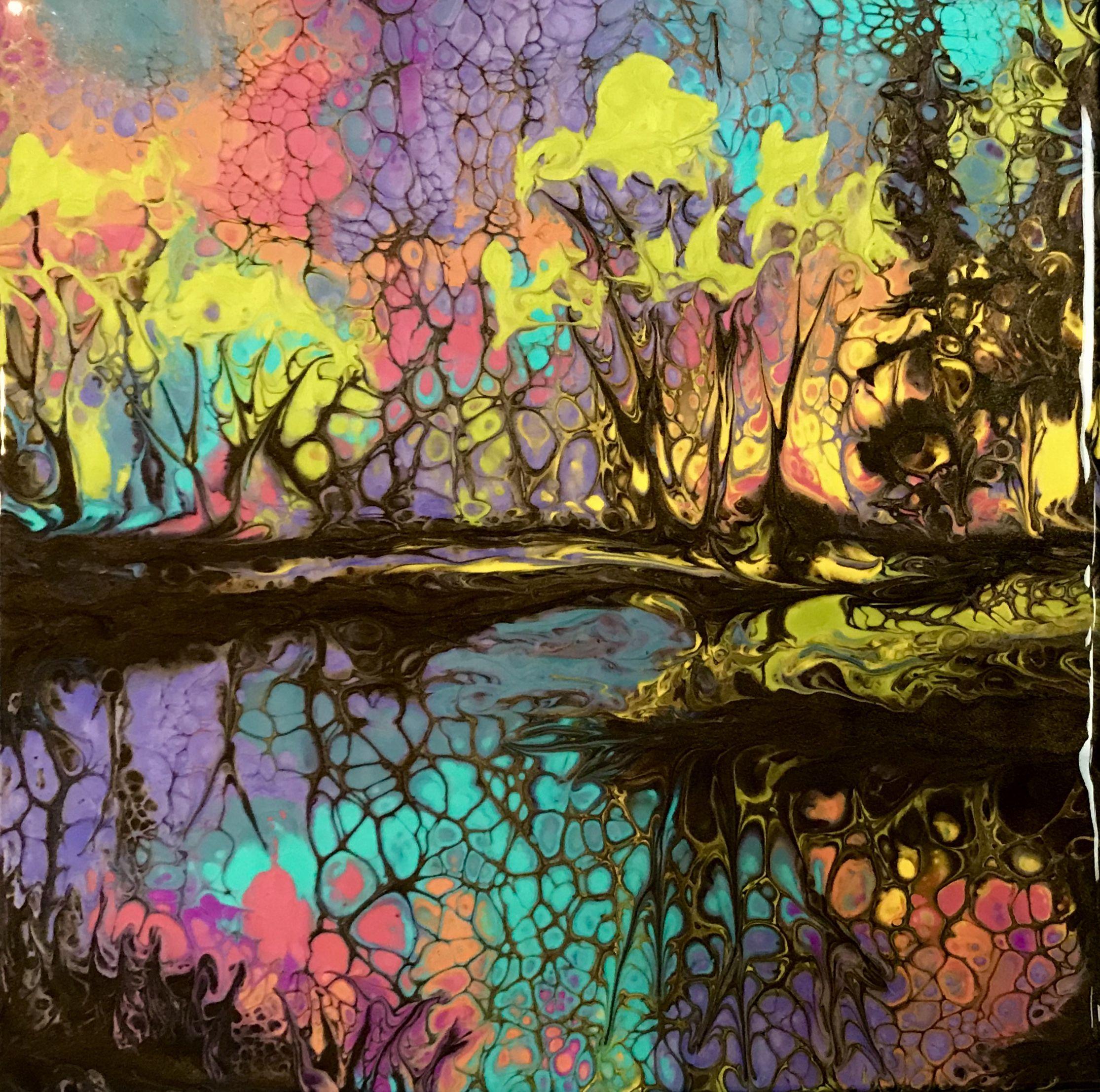 Acrylic pouring. Swipe method | Paintings in 2019 ...