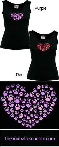 Heart of Paws Tank Top at The Animal Rescue Site From $14.95-16.95 to 4x