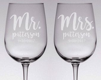 Custom Wedding Wine Gles Etched Gl Pair Personalized Gift