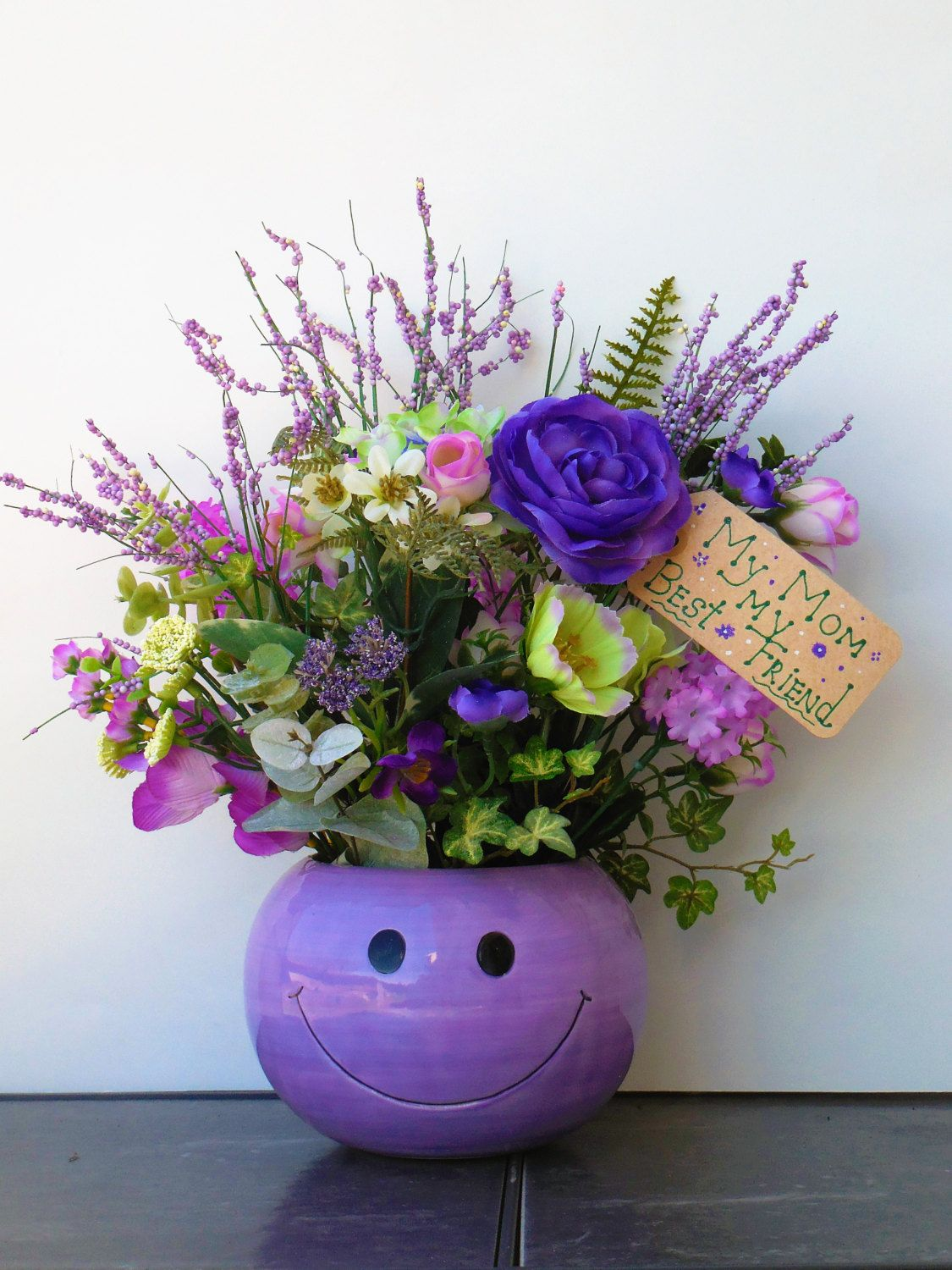 Flower arrangement mothers day floral purple decor smiley face flower arrangement mothers day floral purple decor smiley face decor summer arrangement spring flowers mothers gift lilac color izmirmasajfo