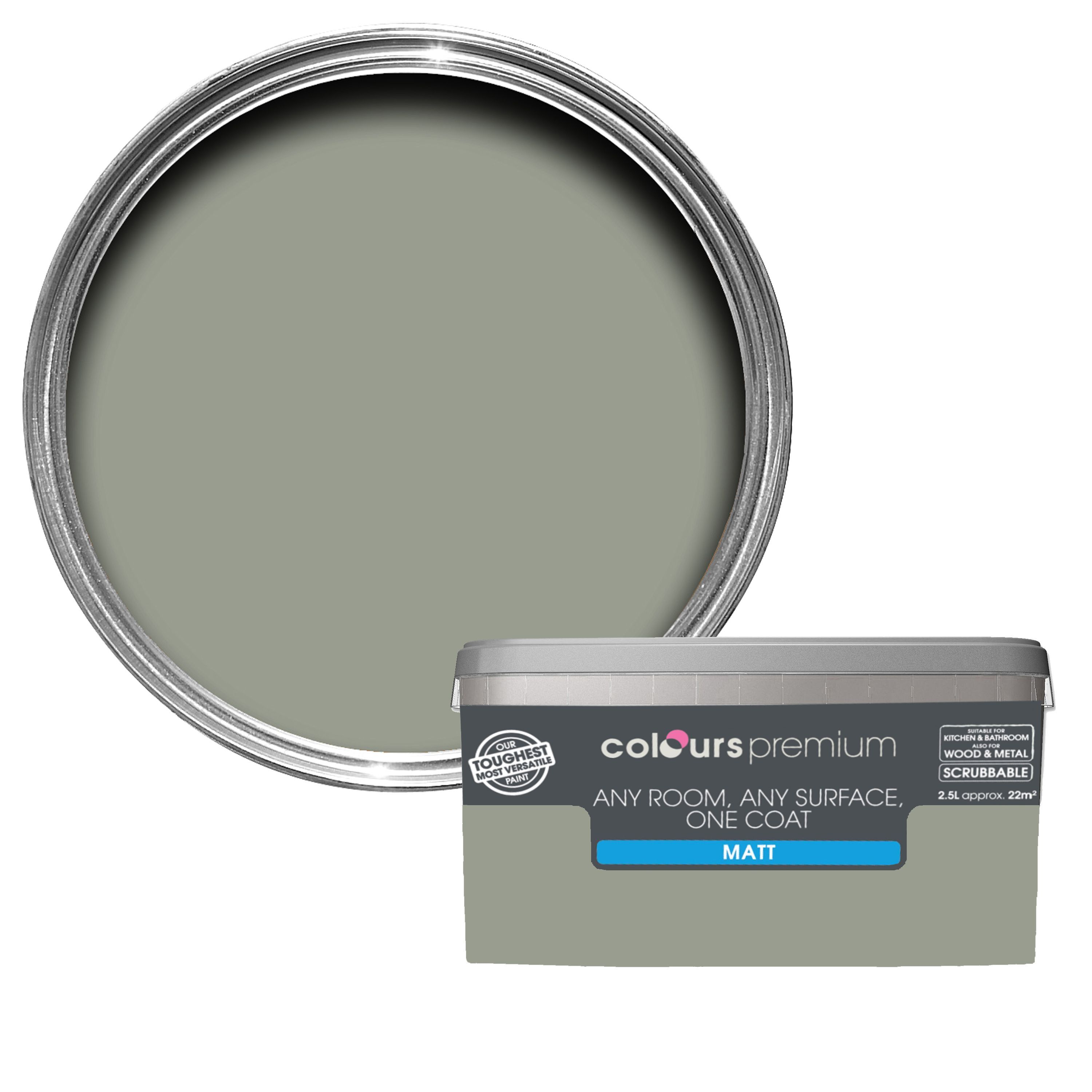 Diy supplies accessories diy at b q - Colours Premium Any Room One Coat Fossilised Matt Emulsion Paint 2 5l Departments Diy