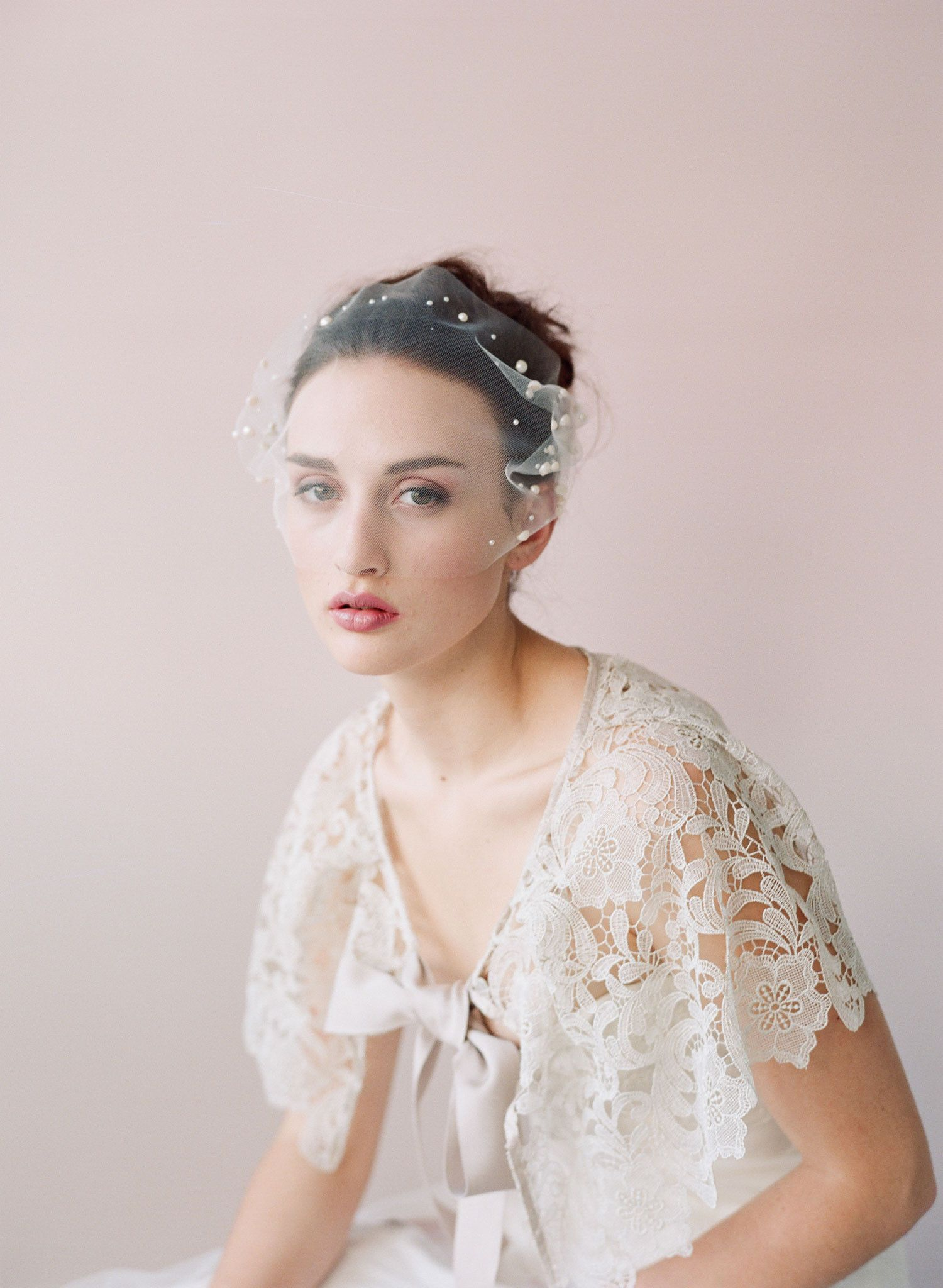 Pearl adorned tulle bandeau veil style veil wedding and